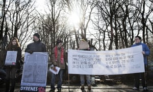 People demonstrate outside Copenhagen Zoo against the killing and of a perfectly healthy young giraffe named Marius despite an online petition to save it signed by thousands of animal lovers.