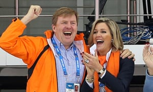 King Willem-Alexander and Queen Maxima of the Netherlands at the Men's Speed Skating 5000m on Saturday.