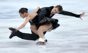 Elena Ilinykh and Nikita Katsalapov of Russia compete in the Team Ice Dance Free Dance at the Sochi 2014 Winter Olympics.