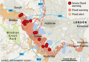 London flood warnings map