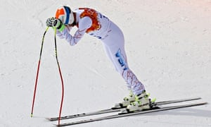 Bode Miller of the United States reacts during the alpine skiing men's downhill