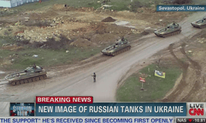 CNN broadcast images of Russian tanks on the move in Sevastopol