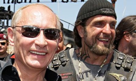 Vladimir Putin, left, then Russian prime minister, with Night Wolves' leader, Alexander 'The Surgeon' Zaldostanov, in 2009.