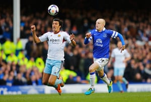 saturday roundup: James Tomkins is closed down by Everton's Steven Naismith