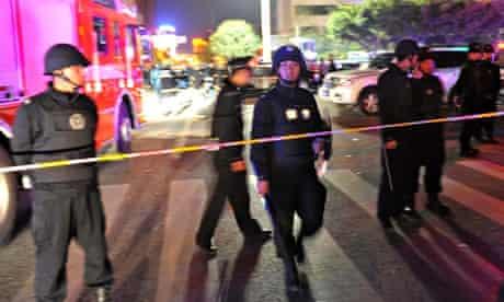 Police at Kunming rail station after knife attacks