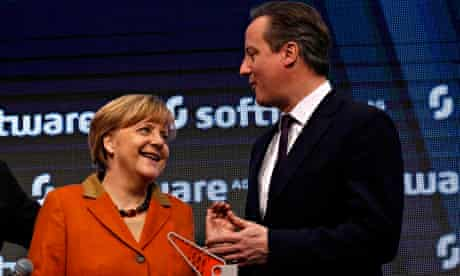 Angela Merkel and David Cameron visit the CeBIT technology fair in Hanover