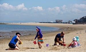 Family at Morcombe beach