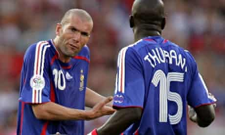 France's Zinedine Zidane, left, and Lilian Thuram during the group stage match between France and Switzerland at the 2006 World Cup.