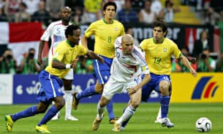 Brazil's Ze Roberto, Kaka and Juninho surround Zidane during the 2006 quarter-final.
