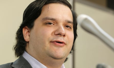 Mt. Gox CEO Mark Karpeles speaks at a news conference at the Justice Ministry in Tokyo.