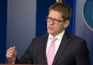 White House press secretary Jay Carney answers questions during his daily news briefing at the White House in Monday, March 10, 2014.