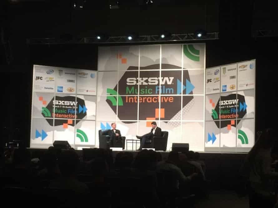 Upworthy CEO Eli Pariser on stage at SXSW.