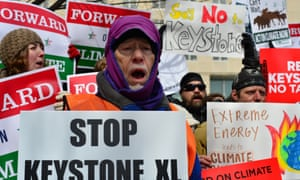 Opponents of the Keystone XL pipeline outside the State Department last week