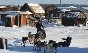 Dallas Seavey leaves the Yukon River village of Kaltag during the 2014 Iditarod Trail Sled Dog Race.