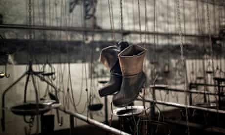 Boots in coal mine