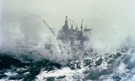 North Sea oil rig in a storm