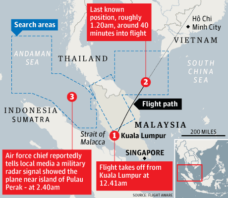 The last known position of Flight 370. Source: Flight Aware