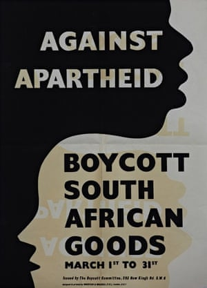 Poster for the March Month of Boycott, 1960, when supporters in Britain picketed shops and distributed leaflets asking shoppers not to buy South African goods.