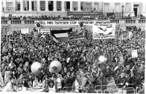 Over 20,000 demonstrators  packed Trafalgar Square in March 1990 at the first big anti-apartheid demonstration in Britain after the release of Nelson Mandela.