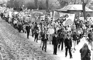 Around 60,000 people marched through London on 24 October 1987 to call for sanctions against South Africa in the run-up to the Commonwealth conference in Vancouver.