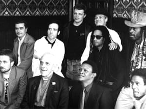 Artists Against Apartheid were an important part of the campaign, and supporters included Big Audio Dynamite, Hugh Masekela, Maxi Priest, Madness and Jerry Dammers seen here with AAM President Trevor Huddleston in 1986.