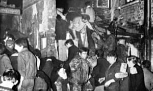 Rescuers at McGurk's bar bombing