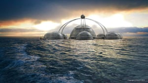 Floating cities: UK designer Phil Pauley has updated Fuller's geodesic concept. A ring of sp