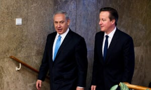 David Cameron with his Israeli counterpart Benjamin Netanyahu before his speech addressing the Knesset.