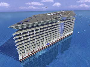 Floating cities: Freedom Ship would essentially be a mile-long flat-bottomed barge with a hi