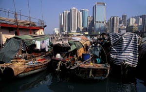 Floating cities: in Hong Kong's Causeway Bay, tens of thousands of sampan-dwellers formed a