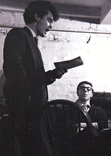 Brian Patten and Roger McGough, sitting, in the Everyman bistro