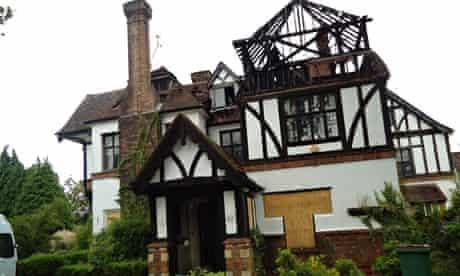Drew Thomson's fire damaged home