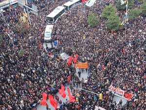 Thousands of people attend the funeral of Berkin Elvan, the 15-year-old boy who died from injuries suffered during last year's anti-government protests, in Istanbul, Turkey