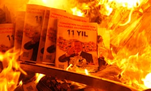 Protesters set a fire in the streets fuelled with material from a wrecked office of Turkey's ruling Justice and Development Party (AKP) during a demonstration for Berkin Elvan, in Istanbul.