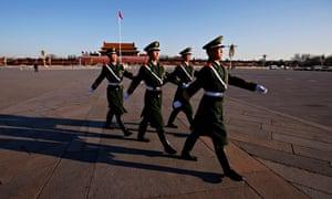 Police on patrol in Tiananmen Square