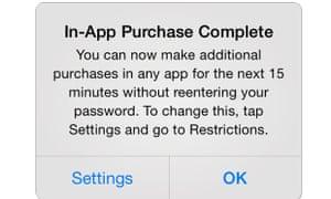 Apple iOS 7 in-app purchase warning