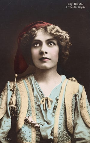 Tweflth Night: A postcard from 1901 has a portrait of actress Lilly Brayton as Viola
