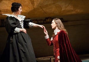 Tweflth Night: Amanda Drew (Olivia) and Rebecca Hall (Viola) at the Cottesloe, National Th