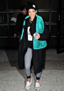 Rihanna wears New Balance trainers in New York