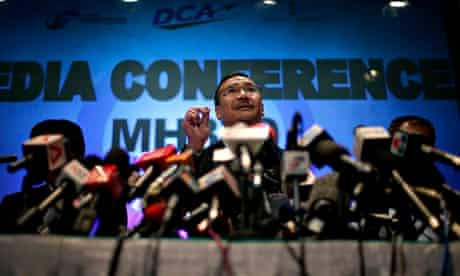 Malaysia's minister of transport answers questions about missing Malaysia Airlines flight MH370