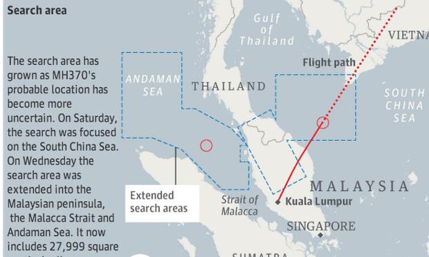 malaysia flight graphic search area