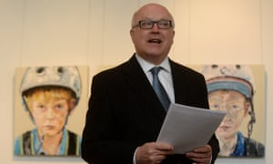 George Brandis speaks at the opening of the Place and Practice exhibition promoting regional arts talent  in Canberra on 5 March 2014. Photograph: Lukas Coch/AAP Image for the Guardian