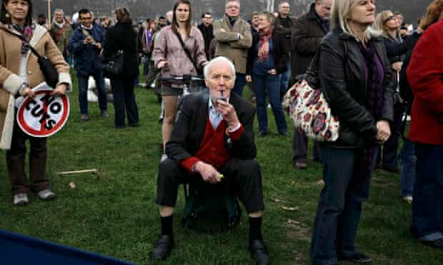 Tony Benn attends a rally in Hyde Park, London, during a protest organised by the TUC