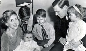Tony Benn with his wife Caroline, children Stephen, Hilary, Melissa and new baby Joshua