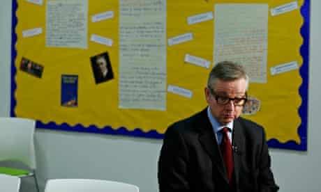 Britain's Education Secretary Michael Gove in classroom