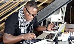 A man uses a tablet
