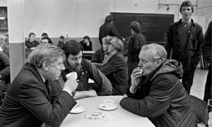 Benn with Roy Hattersley at a factory canteen in Chesterfield.