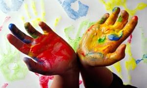 Paint child hands