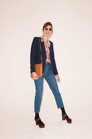 All Ages pink: blazer pink shirt shoulder bag jeans high heeled sandals