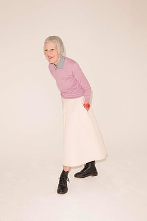 All Ages pink: pink knitted jumper checked shirt white circle skirt dr marten boots black